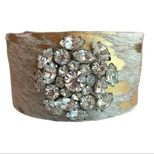 One of a kind Artisan Leather/jewelCuff Bracelet